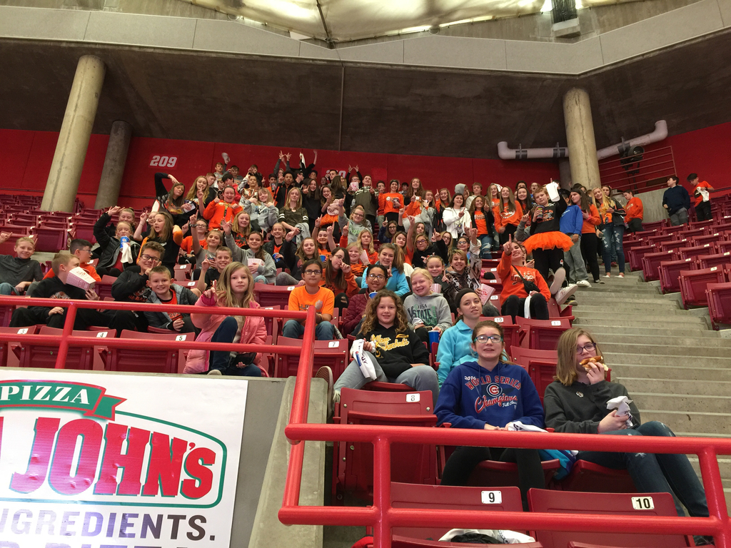 IBMS students cheer our HS Volleyball Team at today's State Tournament.